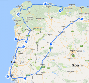 Spain & Portugal Tour Map