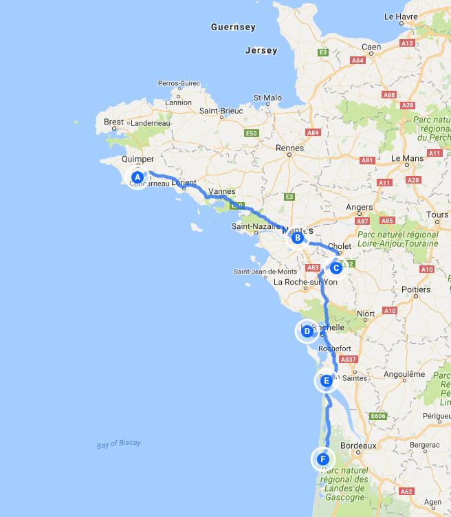 Map Of France Coast.An Atlantic Coast Adventure Gb Motorhome Tours