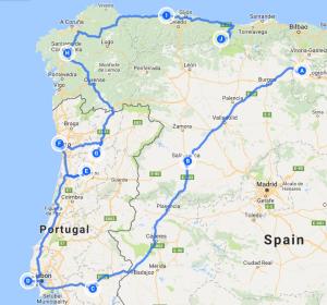Spain & Portugal Tour Map