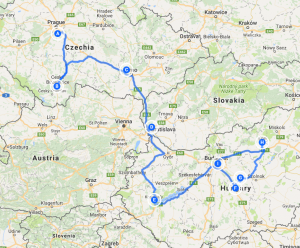 Czech - Slovakia - Hungary Tour Map